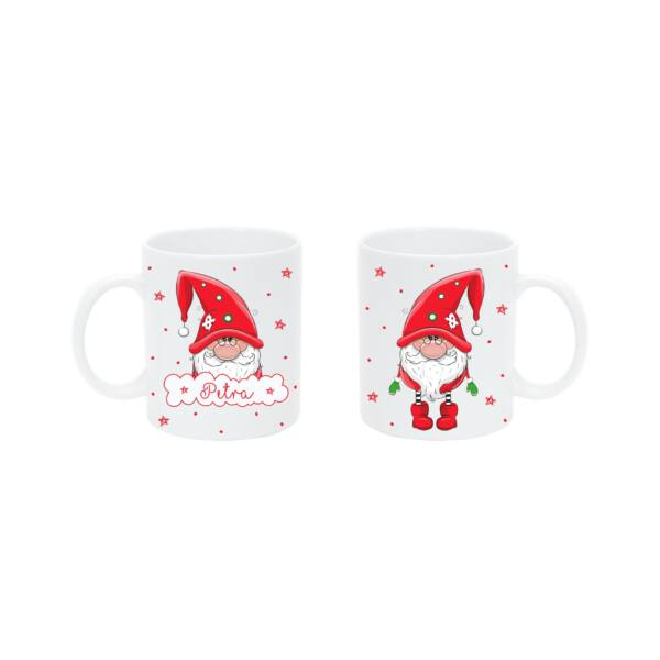 Pulee kerámia bögre névvel - Karácsonyi manó - piros