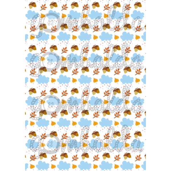 Mintás barkácsfilc - esőfelhők - makkos