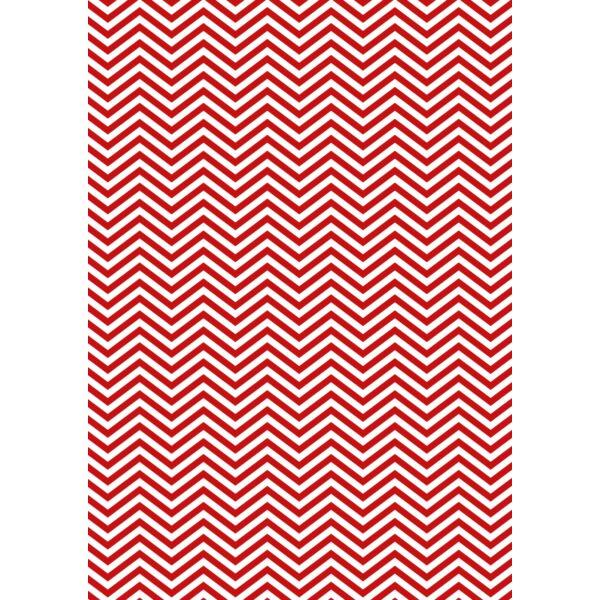 Mintás barkácsfilc - Christmas Basics - piros cikk-cakk