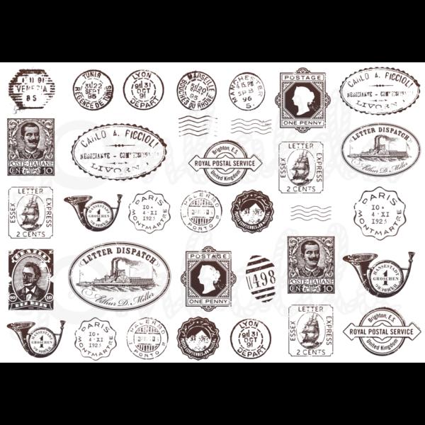 Mintás barkácsfilc - vintage postai pecsétek
