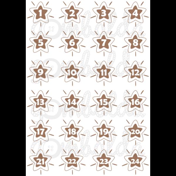 Mintás barkácsfilc - adventi számok csillagokban - barna