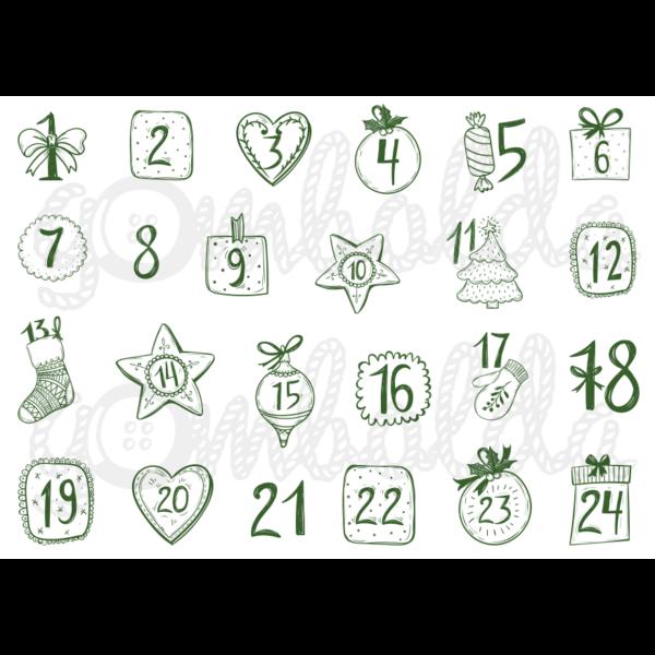 Mintás barkácsfilc - adventi számok vintage stílusban - zöld