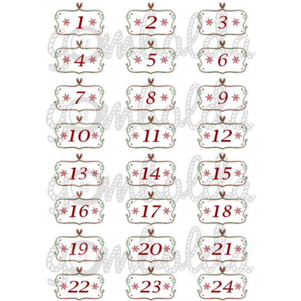 Mintás barkácsfilc - adventi számok keretben - bordó