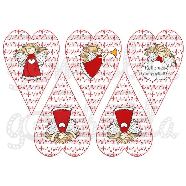 Mintás barkácsfilc - angyalok piros kottás szívekben