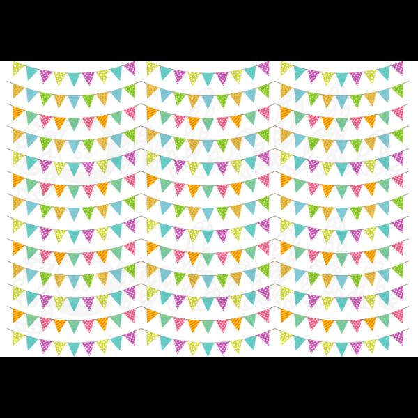Mintás barkácsfilc - színes mini zászlófüzérek