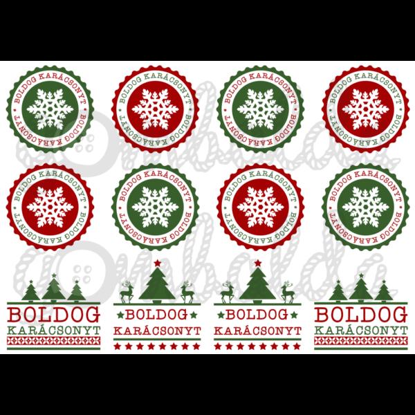 Mintás barkácsfilc - boldog karácsonyt címkék - zöld piros