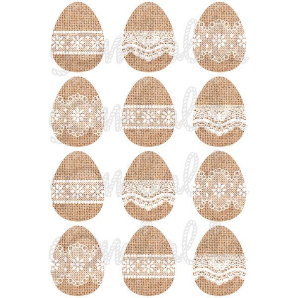 Mintás barkácsfilc - csipkés húsvéti tojások juta alapon