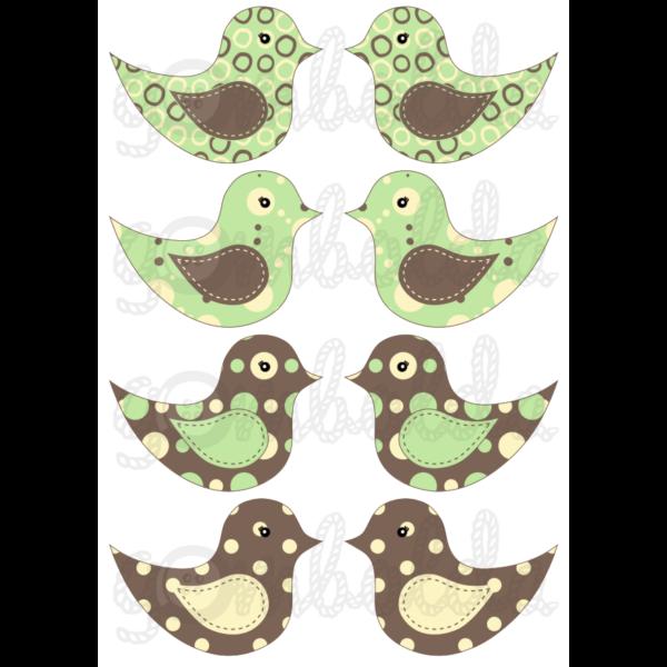 Mintás barkácsfilc - kivágható madarak barna zöld pöttyös