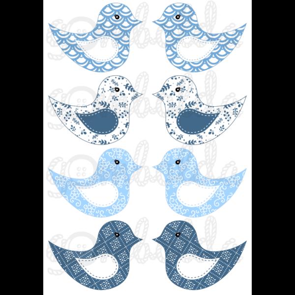 Mintás barkácsfilc - kivágható madarak világoskék kék mintás