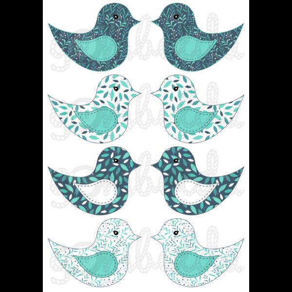 Mintás barkácsfilc - kivágható madarak kékes leveles