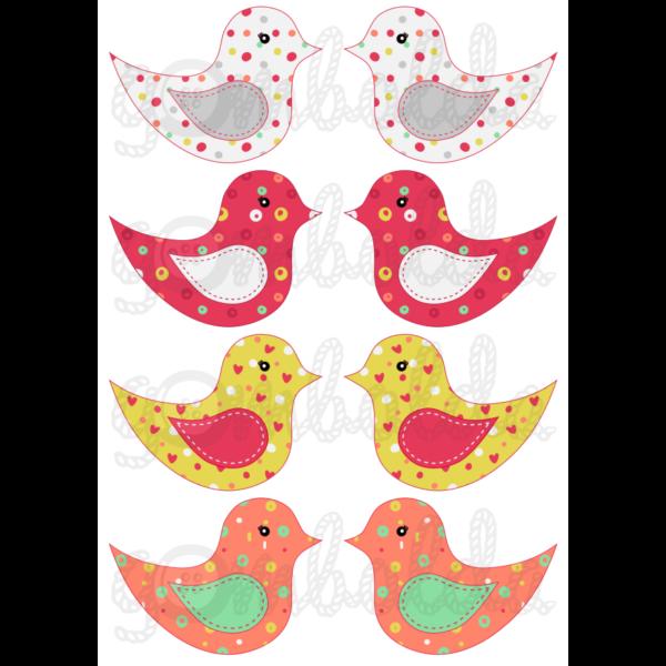 Mintás barkácsfilc - kivágható madarak vegyes mintás