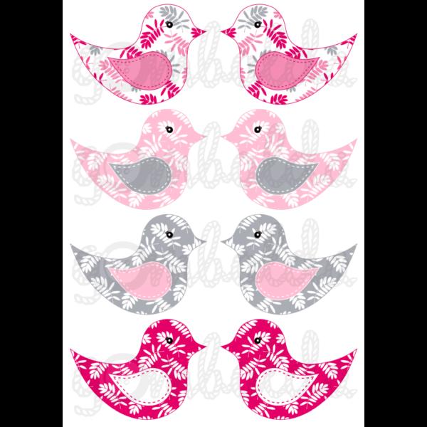 Mintás barkácsfilc - kivágható madarak rózsaszín szürke leveles