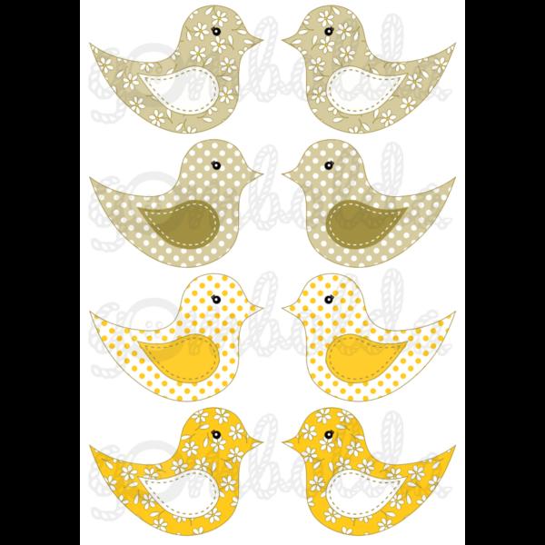 Mintás barkácsfilc - kivágható madarak sárgás