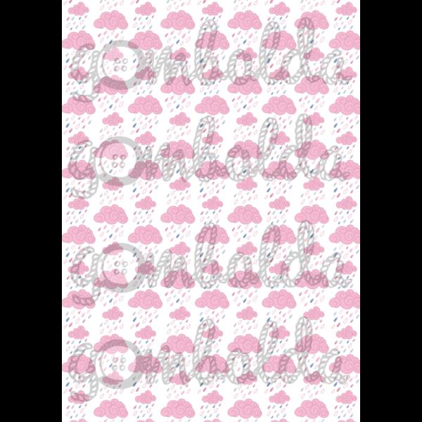 Mintás barkácsfilc - esőfelhők - rózsaszín