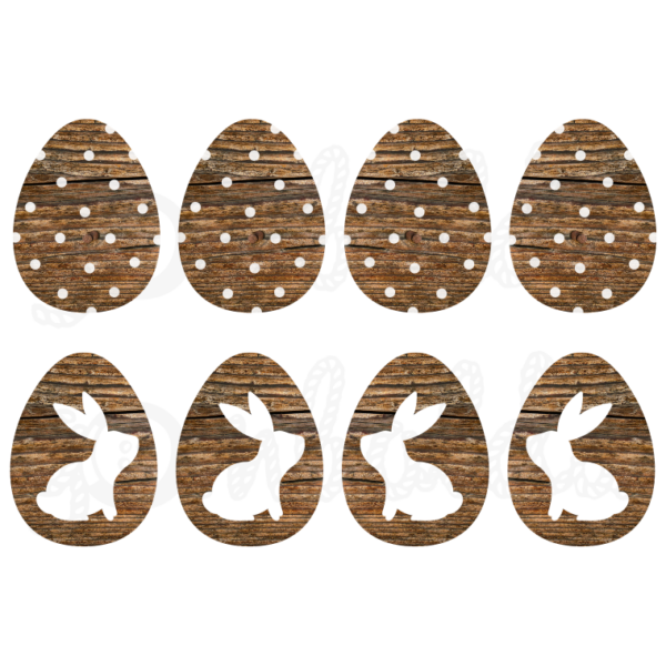 Mintás barkácsfilc - nyuszik sötétbarna fa tojásokon
