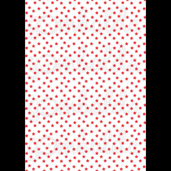 Mintás barkácsfilc - fehér alapon piros csillagok