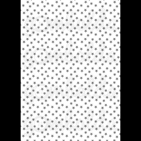 Mintás barkácsfilc - fehér alapon szürke csillagok