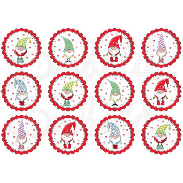 Mintás barkácsfilc - karácsonyi manók piros körökben