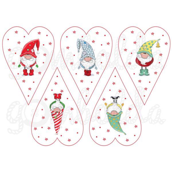 Mintás barkácsfilc - karácsonyi manók szívekben