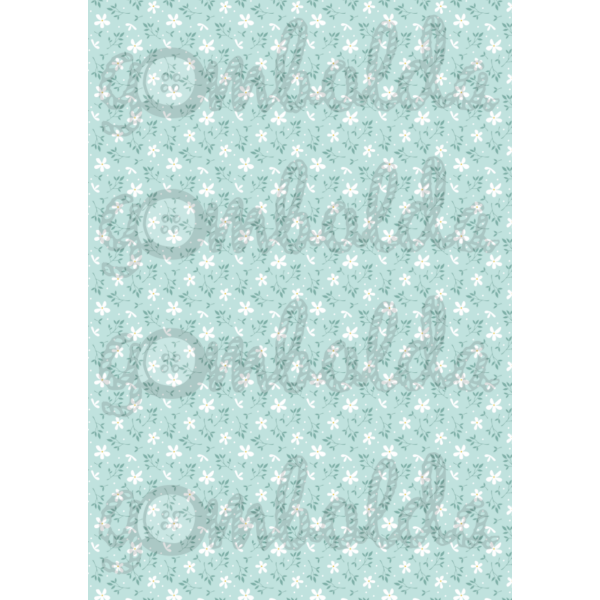 Mintás barkácsfilc - kékes alapon apró fehér virágok