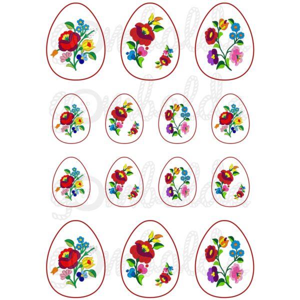 Mintás barkácsfilc - tojások kalocsai mintával