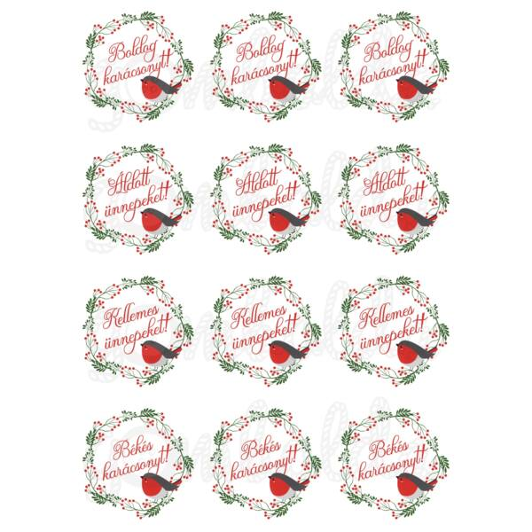 Mintás barkácsfilc - karácsonyi jókívánságok - vörösbegy