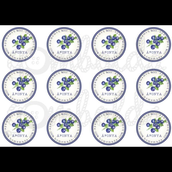 Befőző címke mintás barkácsfilc - áfonya - 60mm