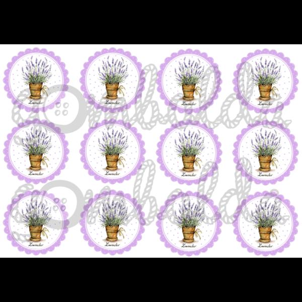 Mintás barkácsfilc - levendulák lila virágokban
