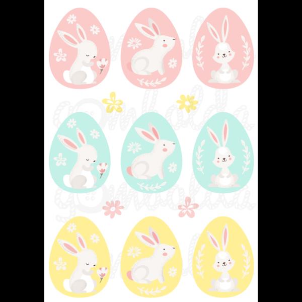 Mintás barkácsfilc - színes húsvéti tojások nyuszikkal