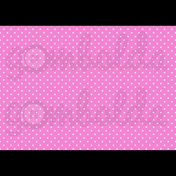 Mintás barkácsfilc - pink alapon apró fehér pöttyös