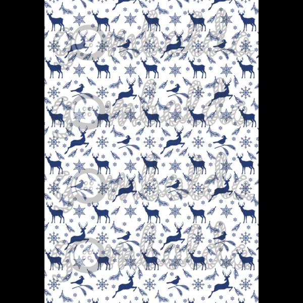 Mintás barkácsfilc - rénszarvasok madarakkal - kék