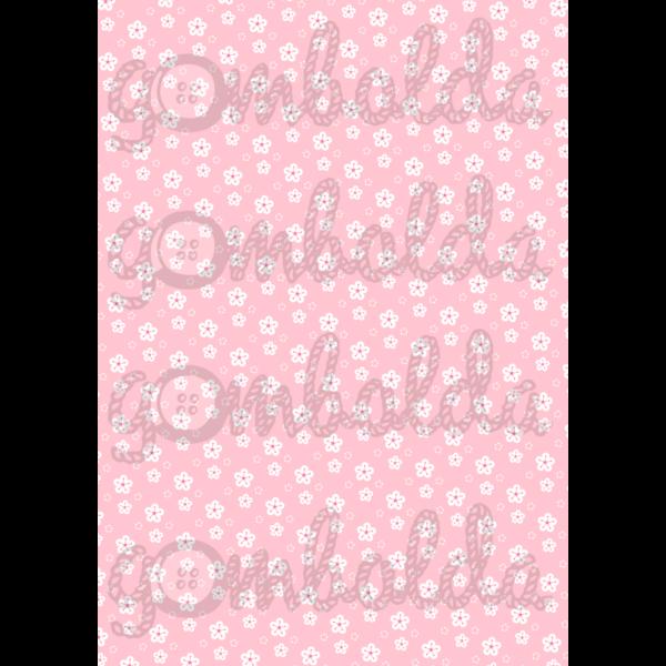 Mintás barkácsfilc - rózsaszín alapon fehér virágok