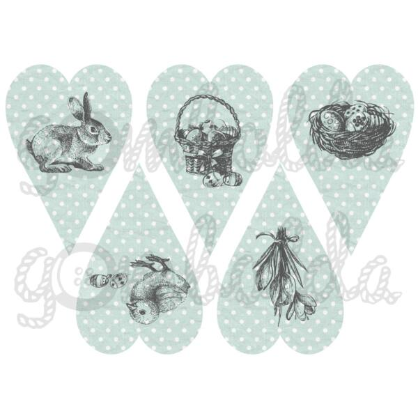 Mintás barkácsfilc - rajzolt húsvét pöttyös szívekben - menta szürke