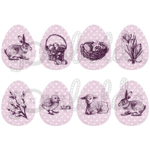 Mintás barkácsfilc - rajzolt húsvét pöttyös tojásokon - lila mályva