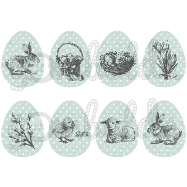 Mintás barkácsfilc - rajzolt húsvét pöttyös tojásokon - menta szürke