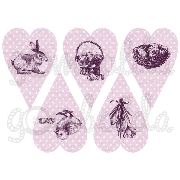 Mintás barkácsfilc - rajzolt húsvét pöttyös szívekben - lila mályva