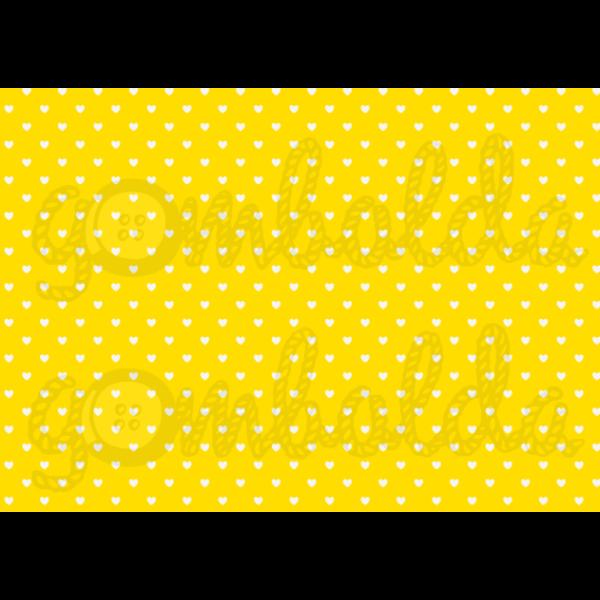 Mintás barkácsfilc - sárga alapon fehér szívek