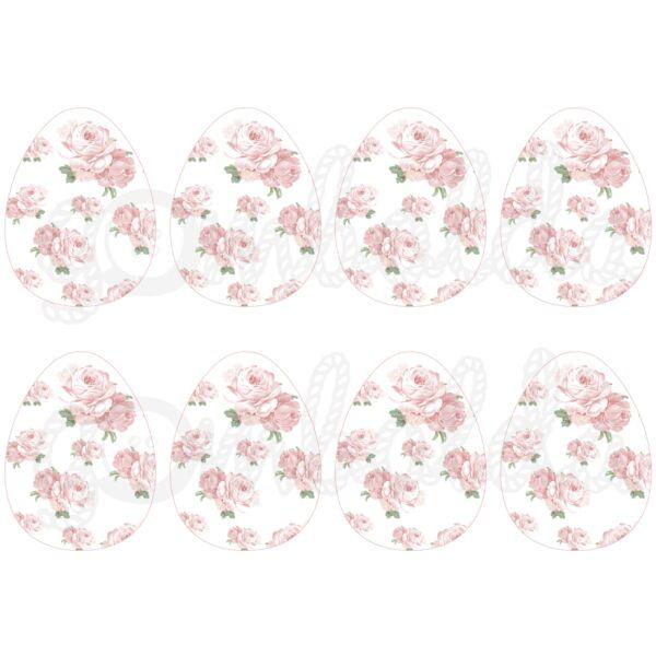 Mintás barkácsfilc - shabby chic rózsás tojások - fehér