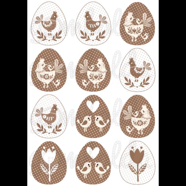 Mintás barkácsfilc - barna fehér tyúkocskák tojásokban