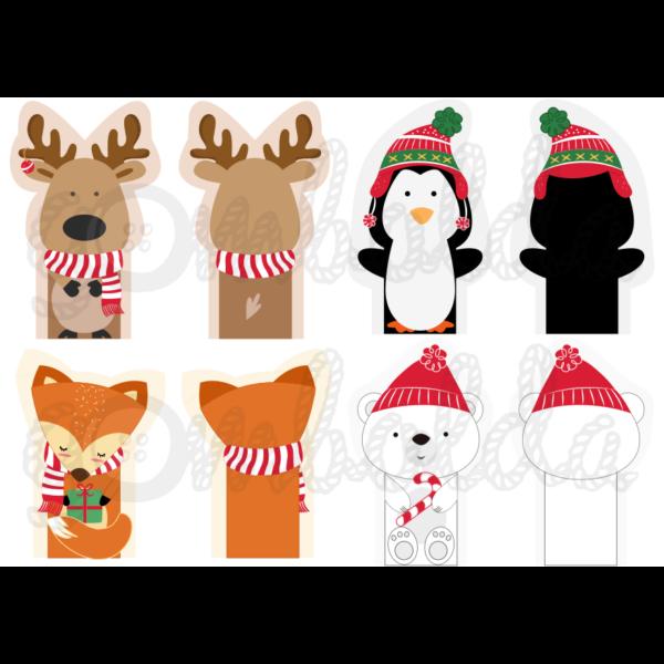 Mintás barkácsfilc - karácsonyi ujjbábok - téli állatok