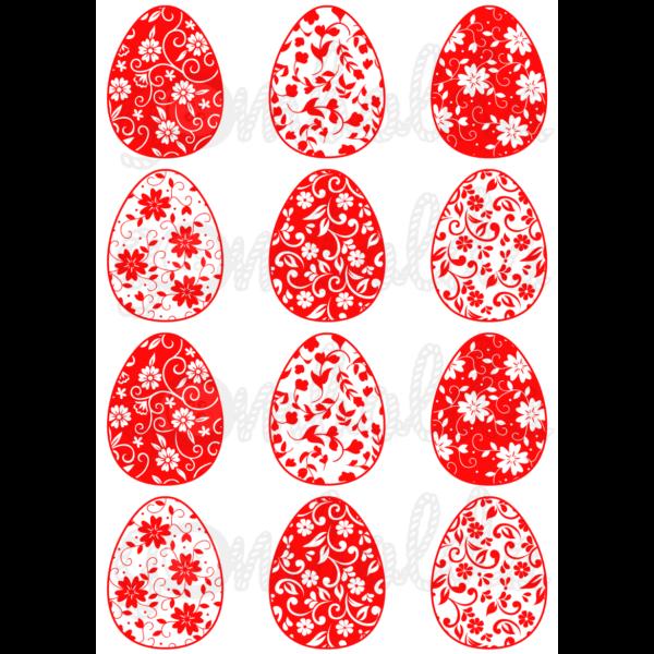 Mintás barkácsfilc - virágos tojások - piros
