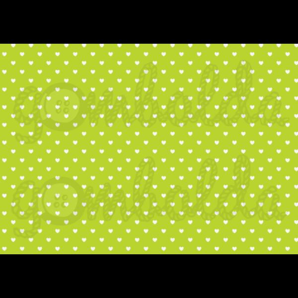 Mintás barkácsfilc - zöld alapon fehér szívek