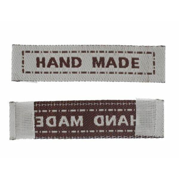 """Szövött címke - """"hand made"""" - szürke - barna - 5db"""