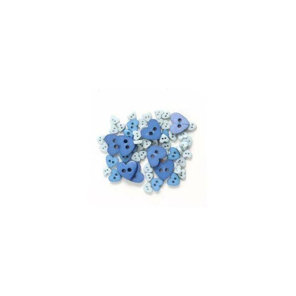 Szív formájú mini gombok - kék