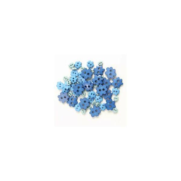 Virág formájú mini gombok - kék