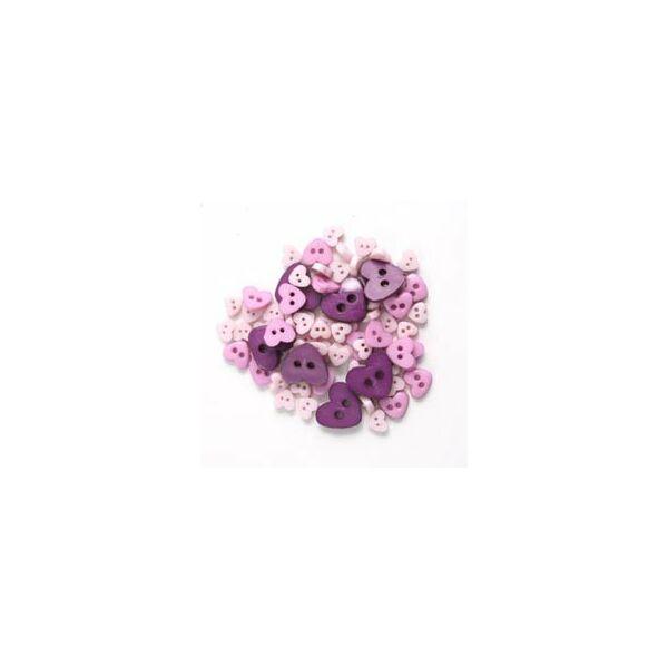 Szív formájú mini gombok - lila