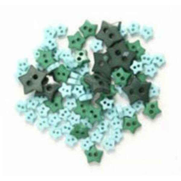 Csillag formájú mini gombok - zöld