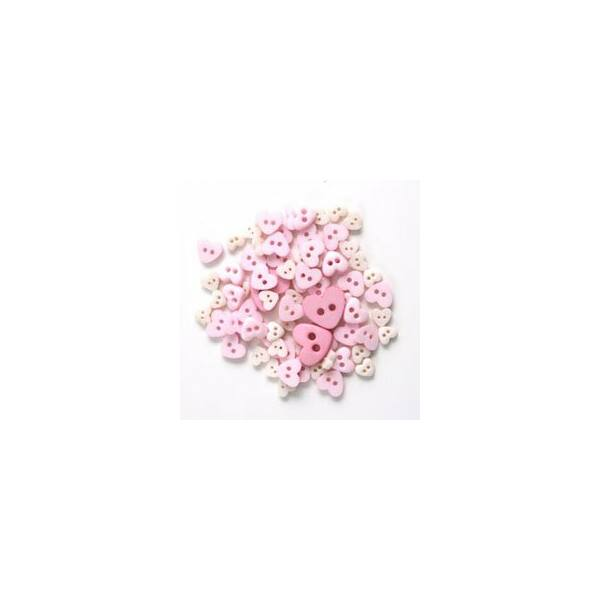 Szív formájú mini gombok - rózsaszín