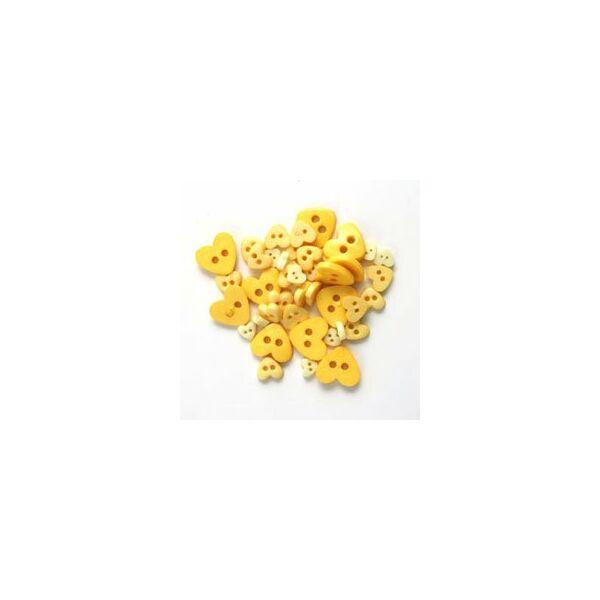Szív formájú mini gombok - sárga