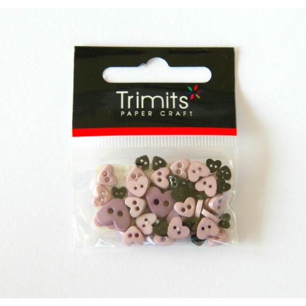 Szív formájú mini gombok - mályva